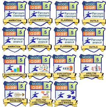 une série de badges