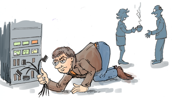 brancher des câbles plutôt que travailler