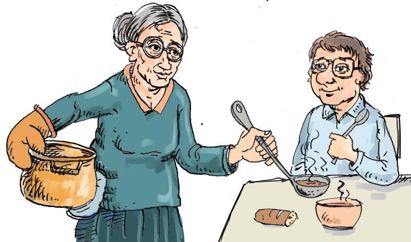 mange la soupe chez ses parents
