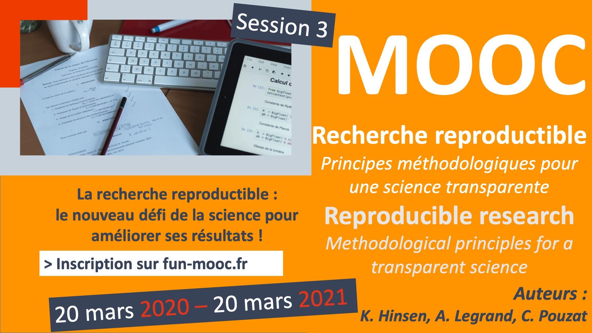 Le Mooc « Recherche reproductible » présente des bonnes pratiques pour la recherche  dans l'ère numérique. À l'issue de ce MOOC, vous aurez acquis les techniques vous permettant de préparer des documents computationnels réplicables et de partager en toute