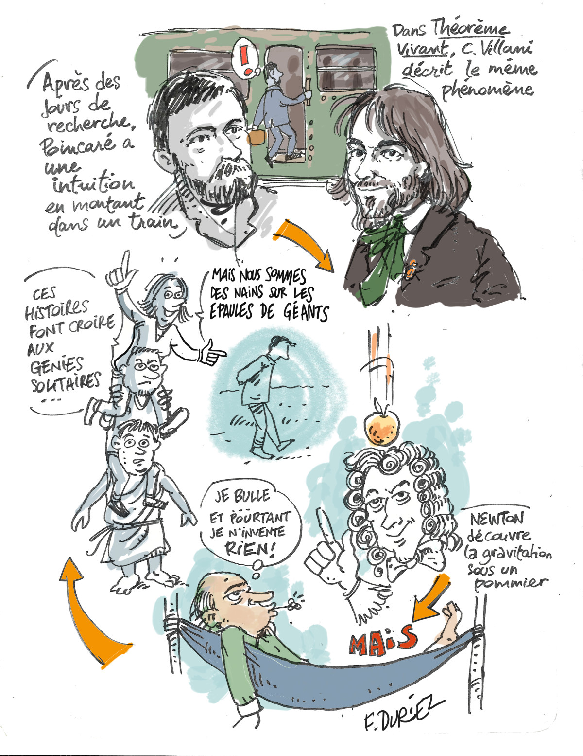 le moment eureke, Poincaré, Villani, Newton, etc